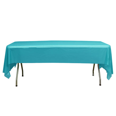 "10mil Thick Disposable Plastic Vinyl Picnic Tablecloth - Turquoise - 54"" x 108"""