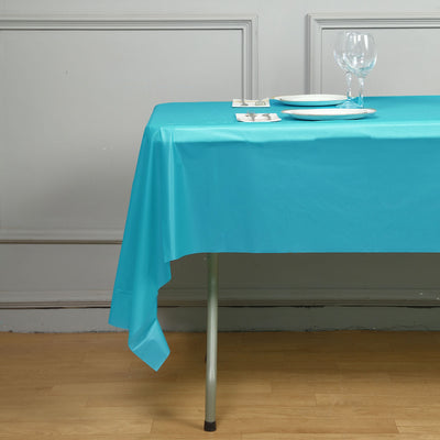 "10mil Thick Disposable Plastic Vinyl Picnic Banquet Birthday Party Home Tablecloth - Turquoise - 54"" x 108"""