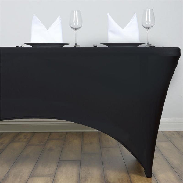 4FT Black Rectangular Stretch Spandex Tablecloth