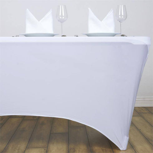 4 Ft Rectangular Spandex Table Cover - White