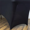 5 FT Black Rectangular Stretch Spandex Tablecloth#whtbkgd