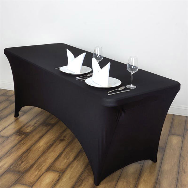 5FT Black Rectangular Stretch Spandex Tablecloth