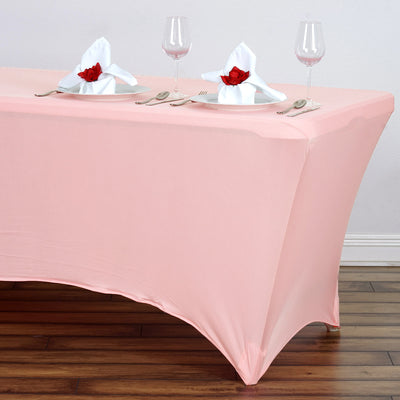 6 FT Rose Quartz Rectangular Stretch Spandex Tablecloth