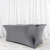 6FT Metallic Charcoal Gray Rectangular Stretch Spandex Table Cover