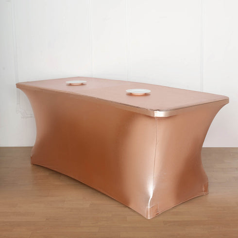 6FT Metallic Blush/Rose Gold Rectangular Stretch Spandex Table Cover