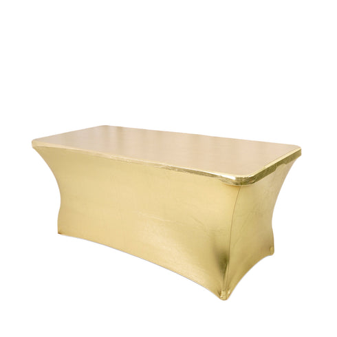 6FT Metallic Champagne Rectangular Stretch Spandex Table Cover