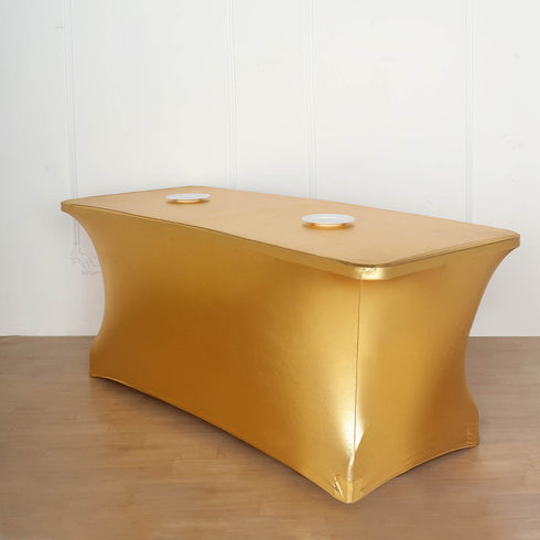 6FT Metallic Gold Rectangular Stretch Spandex Table Cover