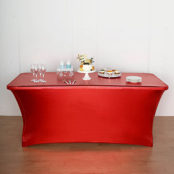 6FT Metallic Red Rectangular Stretch Spandex Table Cover