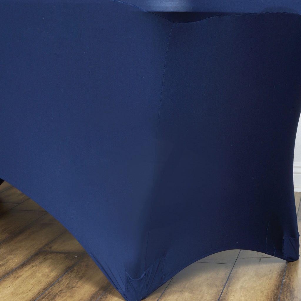6 Ft Rectangular Spandex Table Cover - Navy Blue