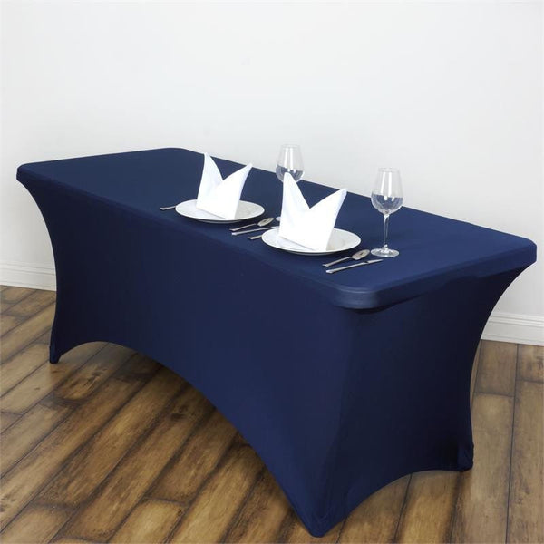 6FT Navy Blue Rectangular Stretch Spandex Tablecloth