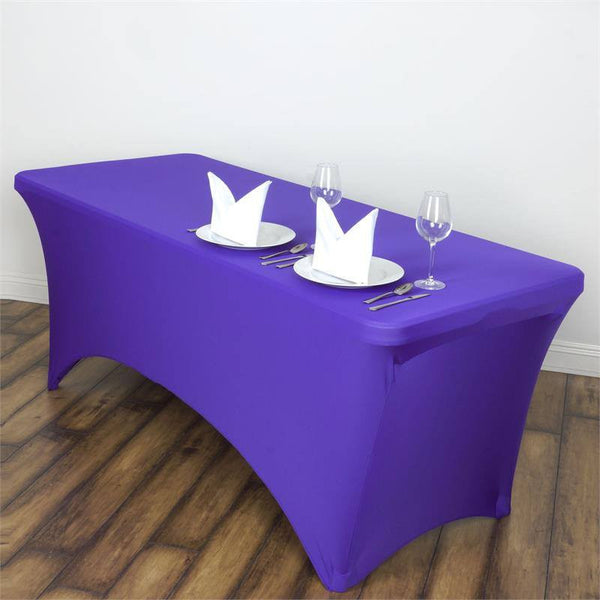 6FT Purple Rectangular Stretch Spandex Tablecloth
