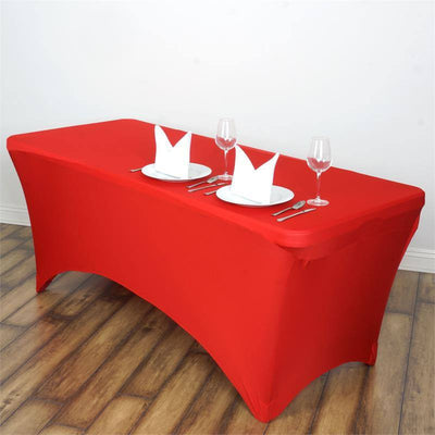 6 Ft Red Rectangular Stretch Spandex Tablecloth