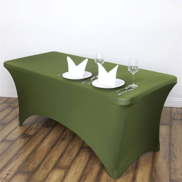 6FT Moss Green Rectangular Stretch Spandex Tablecloth