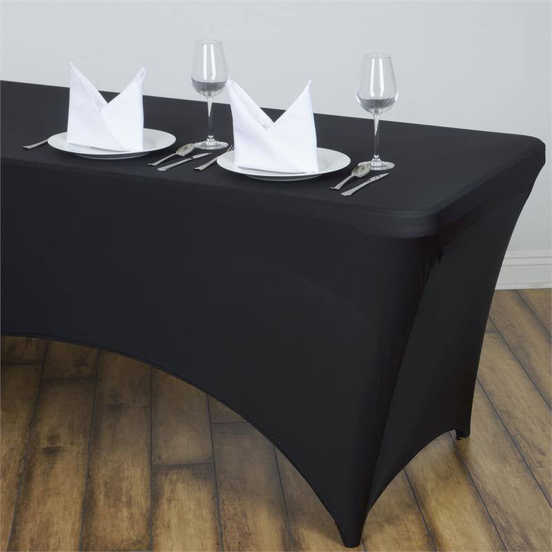 Perfect 8 FT Black Rectangular Spandex Tablecloth For Wedding Party Decoration |  EFavorMart