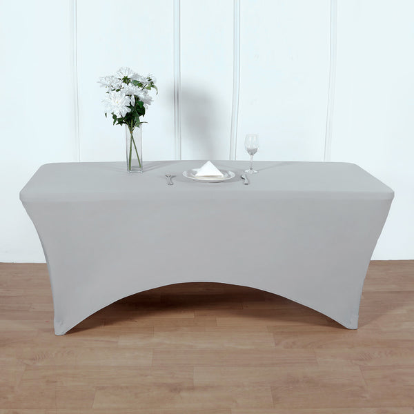 8FT Silver Rectangular Stretch Spandex Tablecloth
