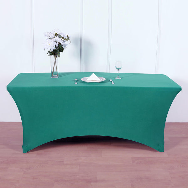 8FT Teal Rectangular Stretch Spandex Tablecloth