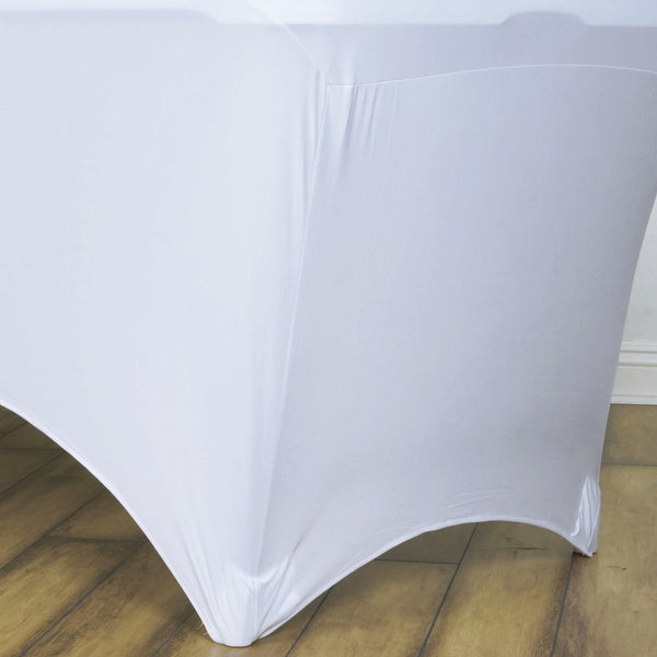 8 Ft White Rectangular Stretch Spandex Tablecloth Efavormart