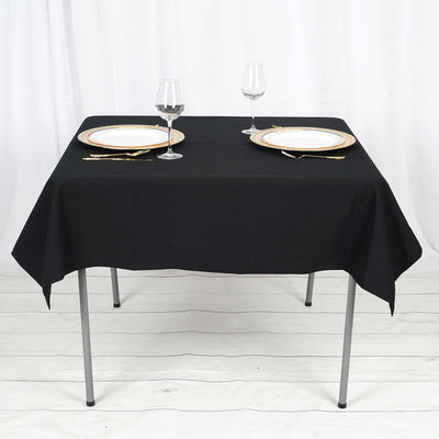 "54"" Black Square Tuscany-Inspired 250gsm Polyester Tablecloth"