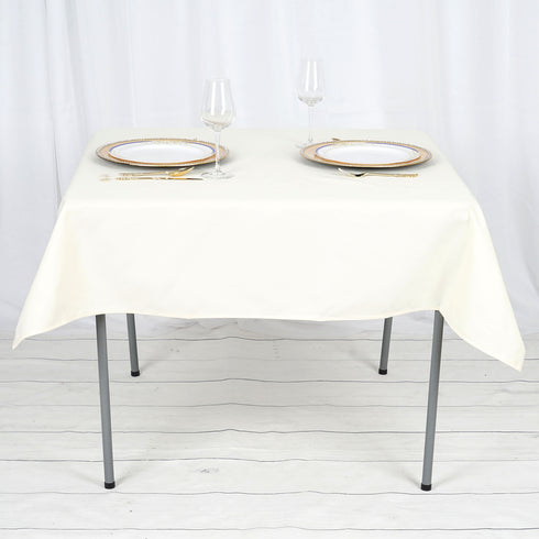 "54"" Ivory Commercial Grade 250 GSM Polyester Square Tablecloth"