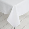 "54"" White Commercial Grade 250 GSM Polyester Square Tablecloth"