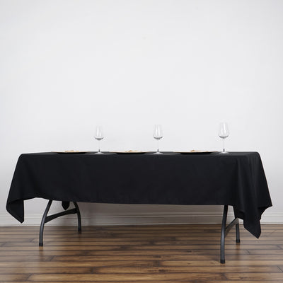 "60x102"" Black Rectangle Tuscany-Inspired 250gsm Polyester Tablecloth"