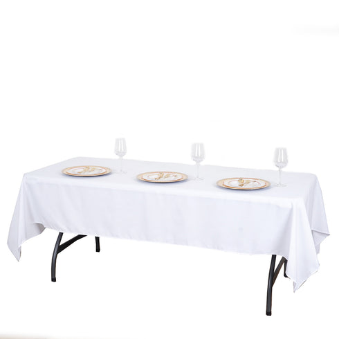 "60x102"" White Rectangle Tuscany-Inspired 250gsm Polyester Tablecloth"