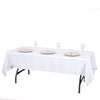 "60x102"" White Commercial Grade 250 GSM Polyester Rectangle Tablecloth"