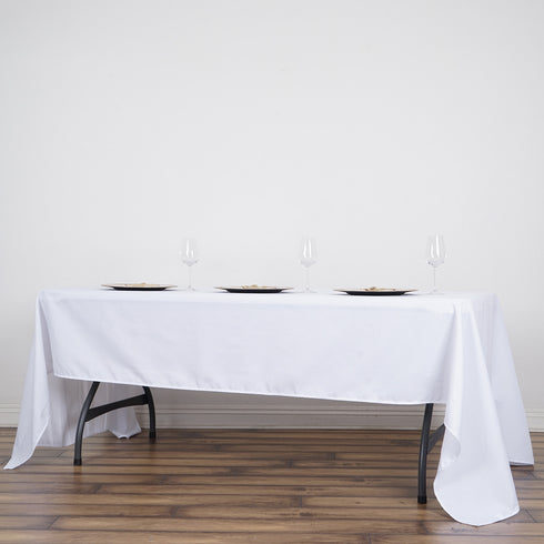 60x126 inch White Commercial Grade 250 GSM Polyester Rectangle Tablecloth