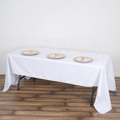 "60x126"" White Commercial Grade 250 GSM Polyester Rectangle Tablecloth"