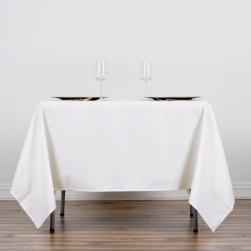 "70"" Ivory Commercial Grade 250 GSM Polyester Square Tablecloth"