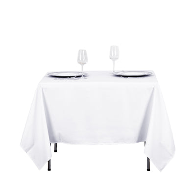 "70"" White Square Tuscany-Inspired 250gsm Polyester Tablecloth"