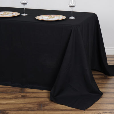 "90x132"" Black Rectangle Tuscany-Inspired 250gsm Polyester Tablecloth"
