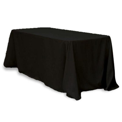 "90x132"" Rectangle Tuscany-Inspired 250gsm Polyester Tablecloth - Black"