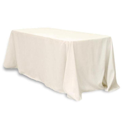 "90x132"" Rectangle Tuscany-Inspired 250gsm Polyester Tablecloth - Ivory"