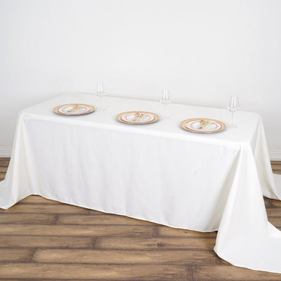 "90x132"" Ivory Rectangle Tuscany-Inspired 250gsm Polyester Tablecloth"