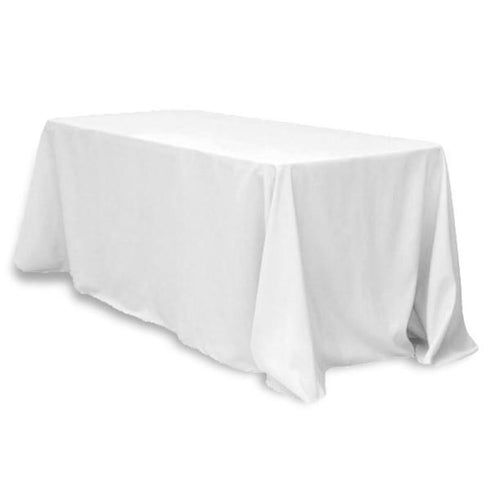 "90x132"" White Rectangle Tuscany-Inspired 250gsm Polyester Tablecloth For Wedding Party Decorations"