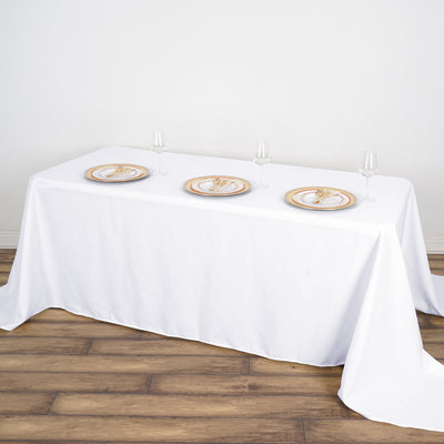 "90x132"" White Rectangle Tuscany-Inspired 250gsm Polyester Tablecloth"