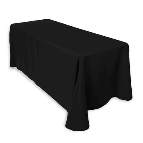 "90x156"" Black Rectangle Tuscany-Inspired 250gsm Polyester Tablecloth For Wedding Party Decorations"