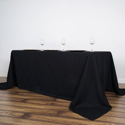 "90x156"" Black Rectangle Tuscany-Inspired 250gsm Polyester Tablecloth"