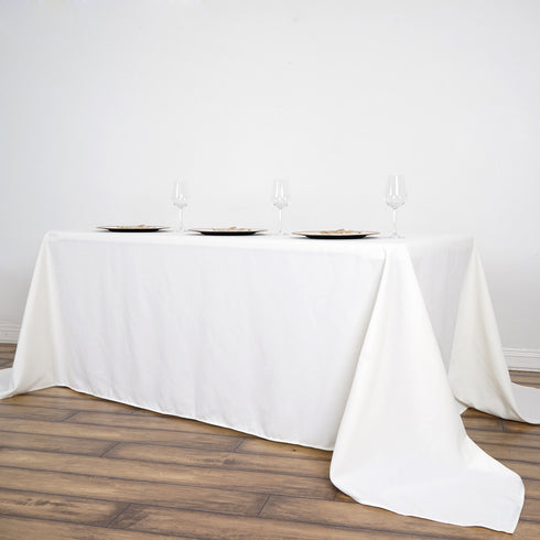 "90x156"" Ivory Commercial Grade 250 GSM Polyester Rectangle Tablecloth"