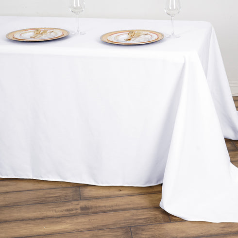 "90x156"" White Commercial Grade 250 GSM Polyester Rectangle Tablecloth"