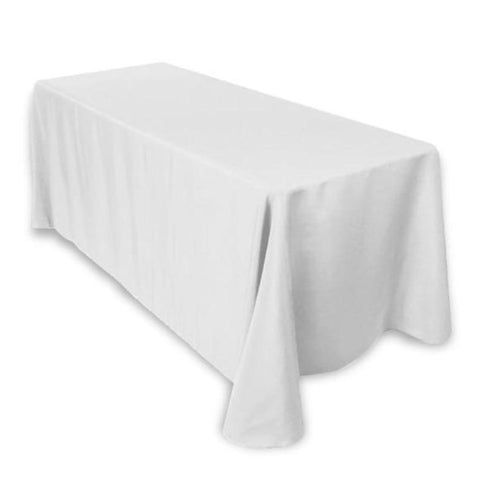 "90x156"" Rectangle Tuscany-Inspired 250gsm Polyester Tablecloth - White"
