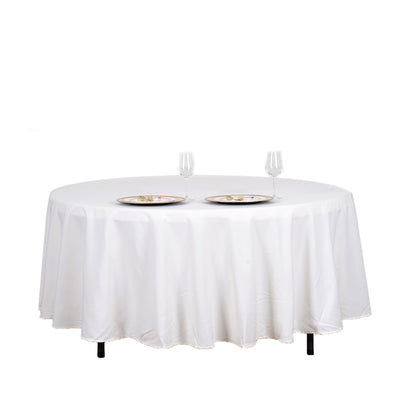 "108"" Ivory Round Tuscany-Inspired 250gsm Polyester Tablecloth"