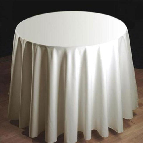"108"" Tuscany-Inspired 250gsm Polyester Tablecloth - Ivory Round"