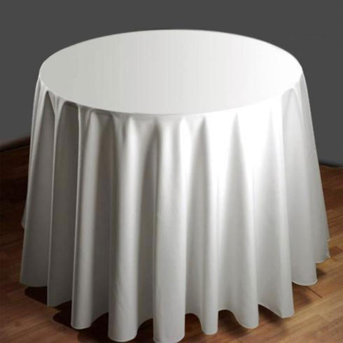 "108"" White Commercial Grade 250 GSM Polyester Round Tablecloth"