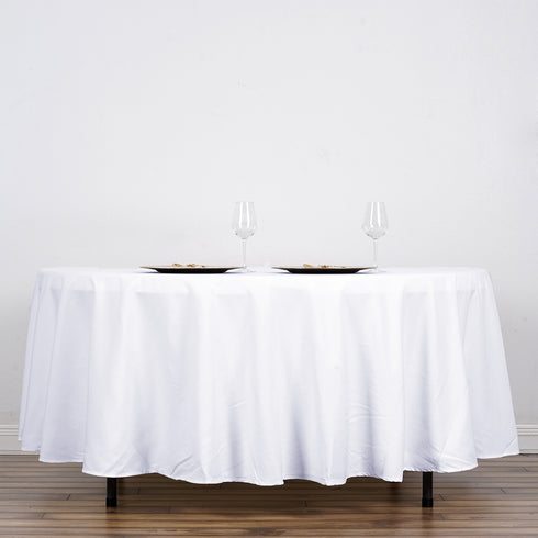 "108"" White Round Tuscany-Inspired 250gsm Polyester Tablecloth"