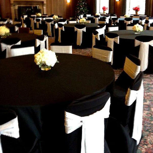"120"" Black Round Tuscany-Inspired 250gsm Polyester Tablecloth"