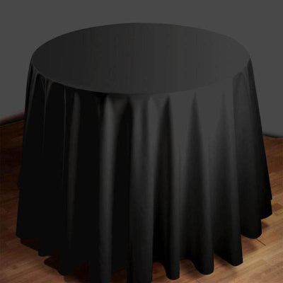 "120"" Round Tuscany-Inspired 250gsm Polyester Tablecloth - Black"