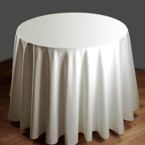 "120"" Round Tuscany-Inspired 250gsm Polyester Tablecloth - Ivory"