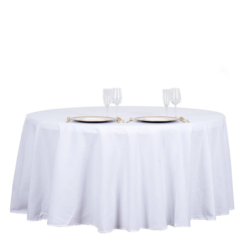 "120"" White Round Tuscany-Inspired 250gsm Polyester Tablecloth"